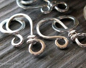 AGB artisan jewelry findings handmade sterling silver or 14k gold filled small hook clasps Mini Sardana 2 sets