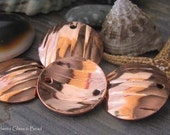AGB copper artisan jewelry findings 16mm wood grain textured discs Lydia 2 pieces