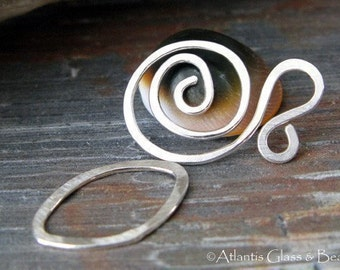 AGB artisan sterling silver jewelery findings large spiral clasp set Salutation