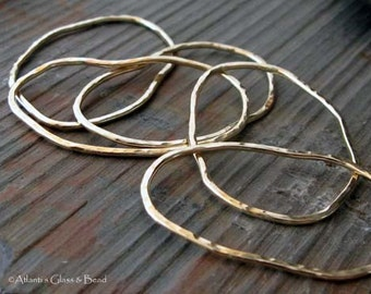 14k gold filled or sterling silver medium organic textured links. Rustic textured shape.  AGB artisan jewelry findings Beans 2 pieces.