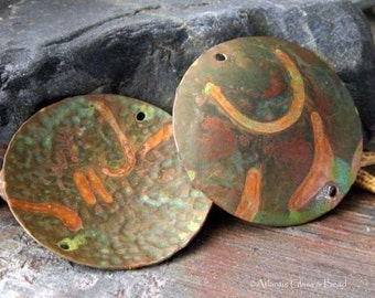 AGB jewelry findings copper verdigris 32mm large textured discs Halia 2 pieces