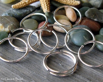 AGB handmade sterling silver jewelry findings 18 gauge round jump rings 14mm OD 10 pieces