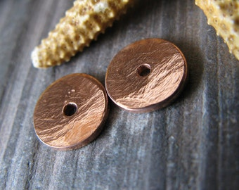 AGB artisan jewelery findings handmade copper Thoosa small 6mm bead caps 2 pieces