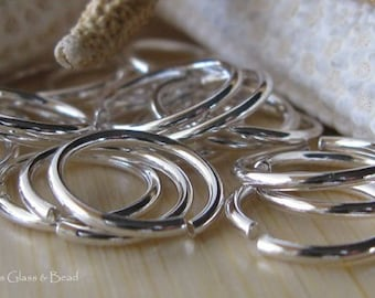 AGB artisan jewelry findings sterling silver 16 gauge round jump rings 14mm OD 5 pieces