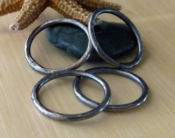AGB artisan jewelry findings oxidized sterling silver 15mm textured rings Ariston 2 pieces