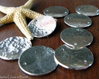 AGB artisan sterling silver jewelry findings 16mm textured domed disc links Kallias 2 pieces