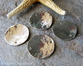 AGB sterling silver artisan jewelry findings 13mm domed textured disc links Kleon 2 pieces