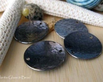 AGB artisan sterling silver jewelry findings 19mm textured domed disc links oxidized Corinna 2 pieces