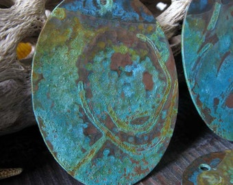 Artisan copper verdigris patina pendant. Handmade jewelry findings.  Large copper oval. AGB Roxana 46x36mm. Made to order.
