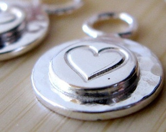 Artisan sterling silver custom handstamped drop, you choose design stamp. Petite component. AGB Evander, heart, sun, stars... Made to order
