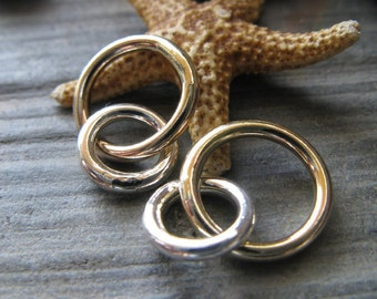 AGB artisan jewelry findings sterling silver and gold filled linked 16 gauge rings Momus 2 pieces