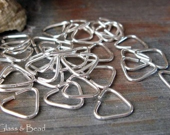 AGB artisan sterling silver, oxidized sterling or 14k gold filled jewelry findings 20 gauge hand cut triangle jump rings 9mm 25 pieces