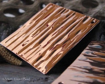 Huge square artisan copper jewelry findings. AGB bold wood grain texture drops 39x39mm, lightweight. Harmonia 2 pieces, made to order.