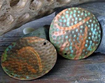 AGB handmade copper findings textured 32mm discs verdigris patina Adonia 2 Pieces