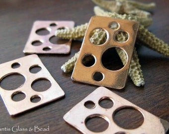 AGB artisan copper jewelery findings flat rectangles with holes 19x13mm Thea 2 pieces