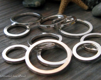 AGB artisan jewelry findings sterling silver large rings 16 gauge square wire Lotus 11mm 4 pieces