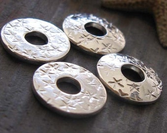 AGB handmade sterling silver jewelry findings stars bead caps 3/8 inch (10mm) Rizpah 2 pieces