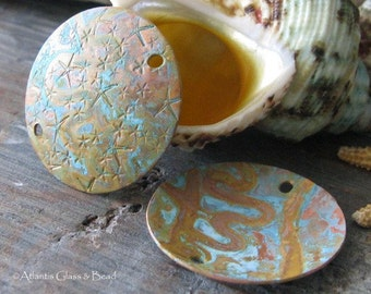 AGB artisan verdigris patina copper jewelry findings domed stamped 25mm discs Larisa 2 pieces