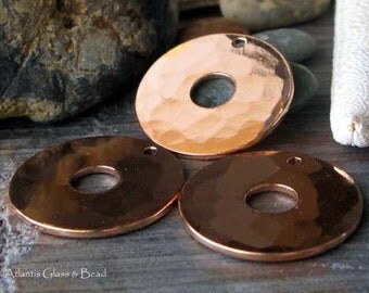 AGB artisan copper jewelry findings 22mm thick disc links Raelin 2 Pieces