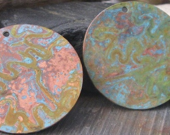 Large patinated rustic copper pendant.  Handmade artisan jewelry findings verdigris patina. Big 38mm. AGB Echo  1 piece. Made to order.