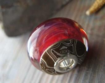 Artisan handmade keepsake. AGB boro glass lampwork focal bead. Mokume Gane caps & sterling silver.  Red wine, Margarita. Ready for shipment