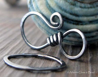 AGB artisan jewelry findings oxidized sterling silver large hook clasp Sardana 1 set