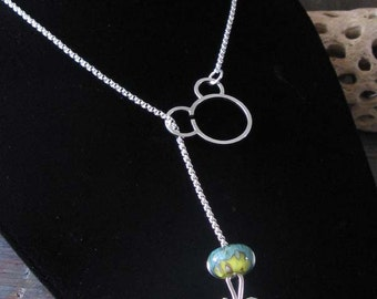 """Sterling silver 18"""" interchangeable rolo chain lariat necklace"""