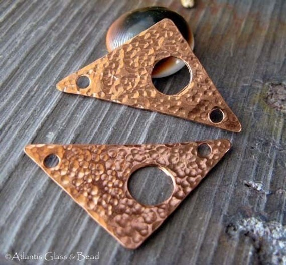 AGB artisan copper jewelry findings unique triangle components 35mm Cyclops 2 Pieces