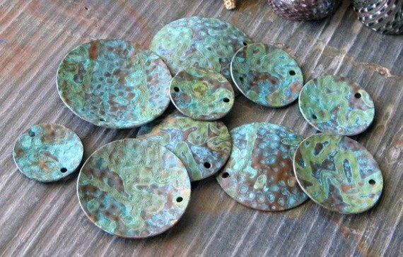 Verdigris patina copper domed 29mm dimpled discs. Artisan handmade patinated jewelry findings.  AGB Adonia 2 pieces. Made to order.