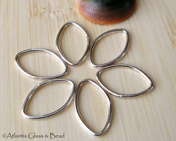 Oval sterling silver 18 gauge jewelry components.  Artisan handmade AGB 16x11mm Orpheus 4 pieces.  Smooth medium findings.  Made to order.