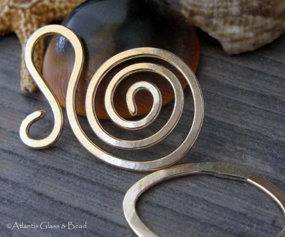 AGB artisan gold filled jewelery findings large spiral clasp set Salutation