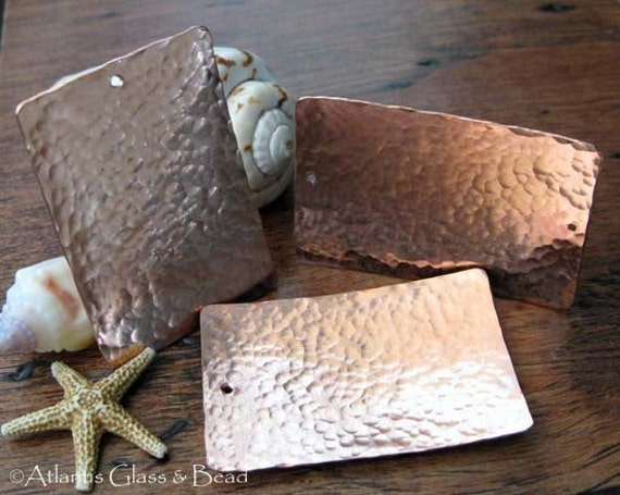 AGB artisan copper jewelery findings extra large textured rectangles 39x25mm Venus 2 pieces