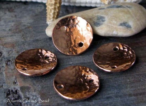 AGB jewelry findings artisan copper textured discs 10mm Kalisto 4 pieces
