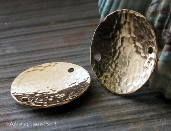 AGB gold filled artisan jewelry findings textured 19mm domed discs Corinna 2 pieces