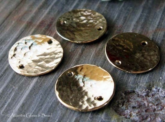 AGB gold filled artisan jewelry findings textured 13mm discs Kleon 2 pieces
