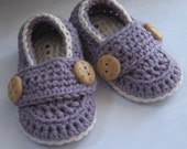 Crochet Baby Booties Cotton Little Button Loafers Seraphim and Ivory You Choose Size and color
