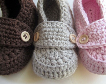 Crochet Baby Booties, Cotton Little Button Loafers // sizes 0 thru 12 months // You Choose Size and Colors