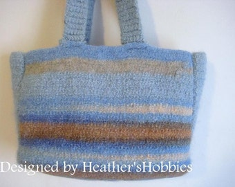 CLEARANCE Crochet Felted Merino Wool Tote
