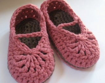 Crochet Cotton Baby Booties Mary Jane Skimmers You choose Size and Color