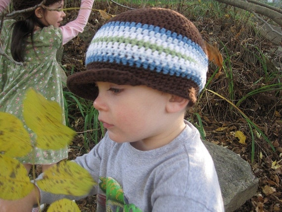 Crochet Hat Striped Brimmed Beanie size Newborn to Toddler 5T For Boys and Girls You Choose Size and colors