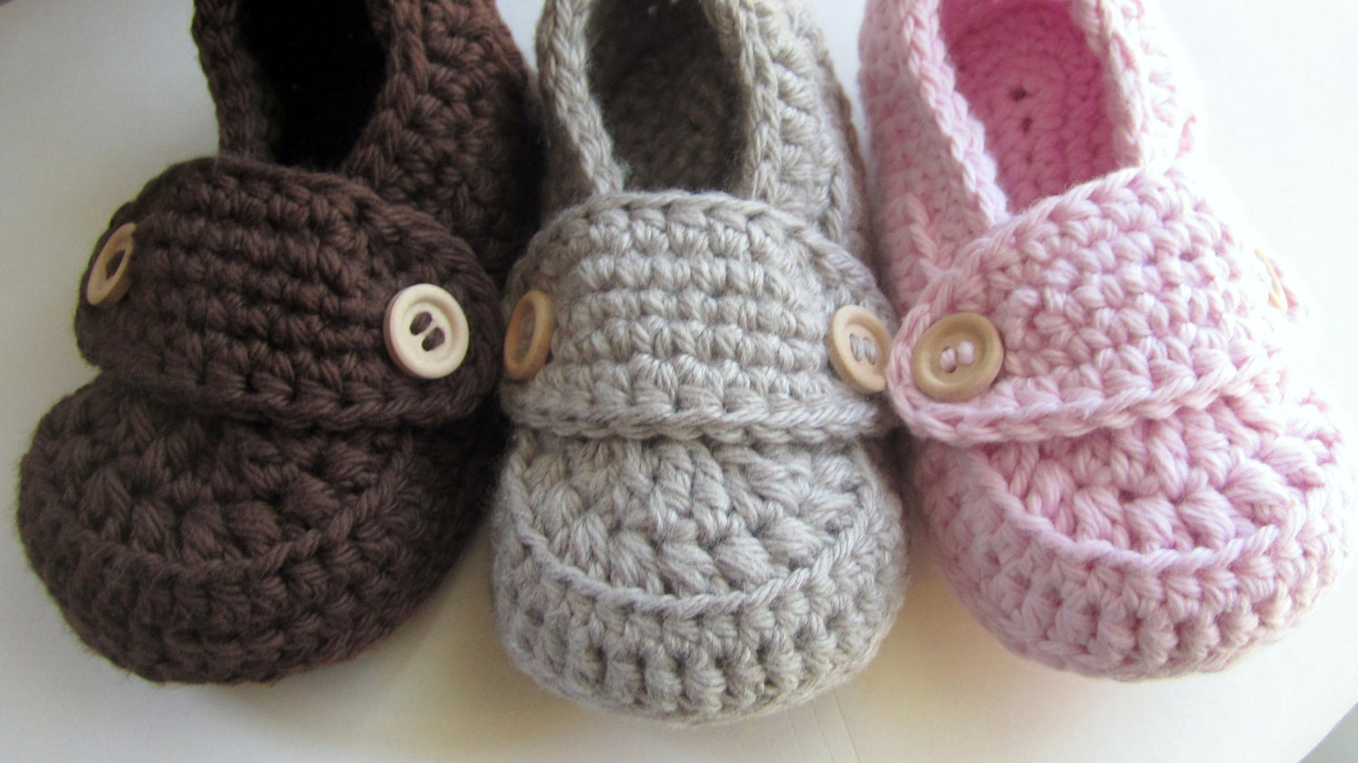Crochet Baby Booties Cotton Little Button by HeathersHobbies