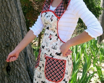 Red and Black Vintage Inspired Apron, Vintage Everyday Housewife Apron - Small to Medium