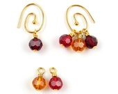 Red Hot Spiral Earrings with Interchangeable Dangles