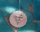 Double Layer Disc Pendant Necklace with Heart cutout
