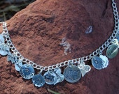 Sterling Silver Hand Stamped Disc and Charm Bracelet