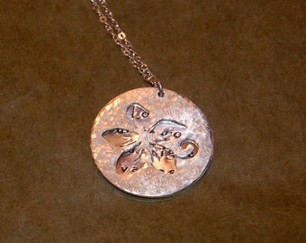 Hand Pierced Layered Flower and Quote Pendant