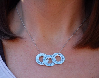 Sterling Silver Multi Washer Mommy Necklace