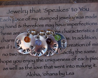 STERLING Stamped Mother's or Grandmother's Necklace with Birthstones and Spacer Beads
