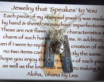 Custom Sterling Silver Rectangle Tag and Charm Necklace for Mom