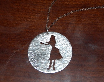 Large Sterling Silver Pendant with Hula Girl Palm Tree Cutout